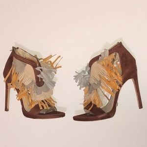 Zara Fringed Heel Sandals